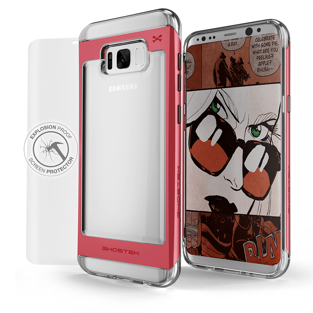 Galaxy S8 Case, Ghostek® 2.0 Red Series w/ Explosion-Proof Screen Protector | Aluminum Frame