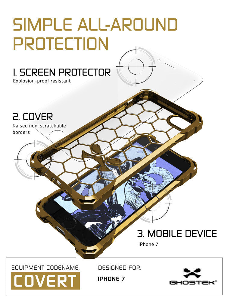 GHOSTEK - Covert Series Premium Impact Case for Apple iPhone 7 | Gold