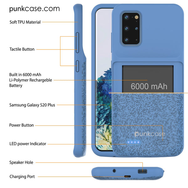 PunkJuice S20+ Plus Battery Case Patterned Blue - Fast Charging Power Juice Bank with 6000mAh