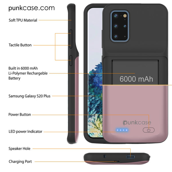 PunkJuice S20+ Plus Battery Case Rose - Fast Charging Power Juice Bank with 6000mAh