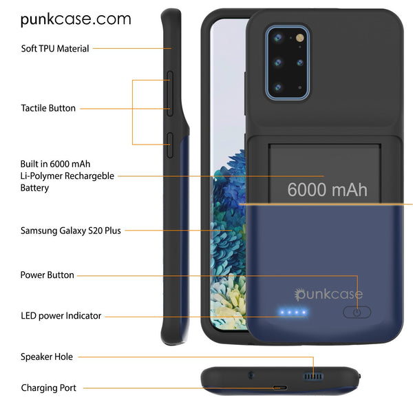 PunkJuice S20+ Plus Battery Case All Blue - Fast Charging Power Juice Bank with 6000mAh