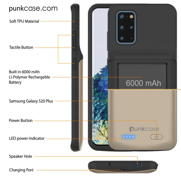 PunkJuice S20+ Plus Battery Case Gold - Fast Charging Power Juice Bank with 6000mAh