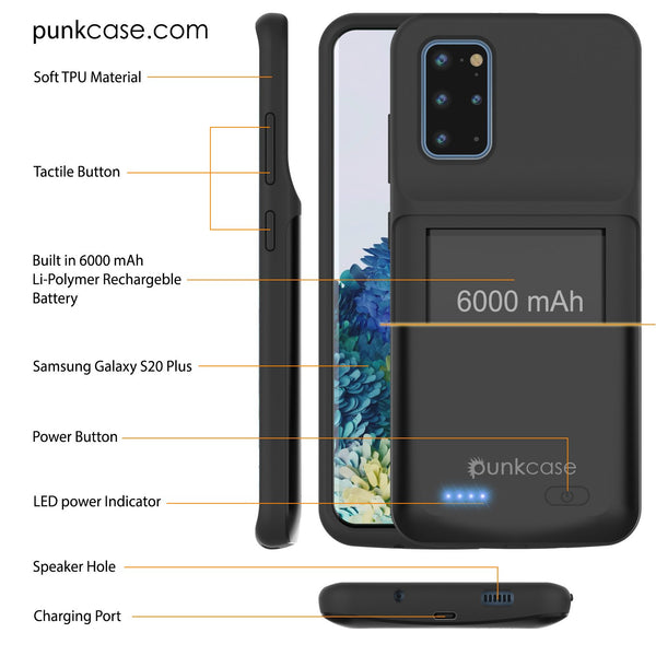 PunkJuice S20+ Plus Battery Case All Black - Fast Charging Power Juice Bank with 6000mAh