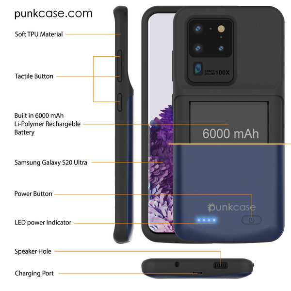 PunkJuice S20 Ultra Battery Case All Blue - Fast Charging Power Juice Bank with 6000mAh