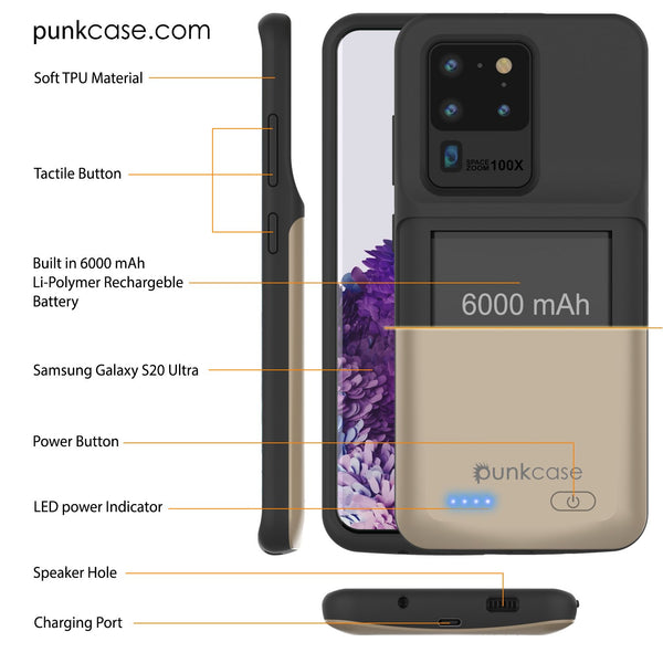 PunkJuice S20 Ultra Battery Case Gold - Fast Charging Power Juice Bank with 6000mAh