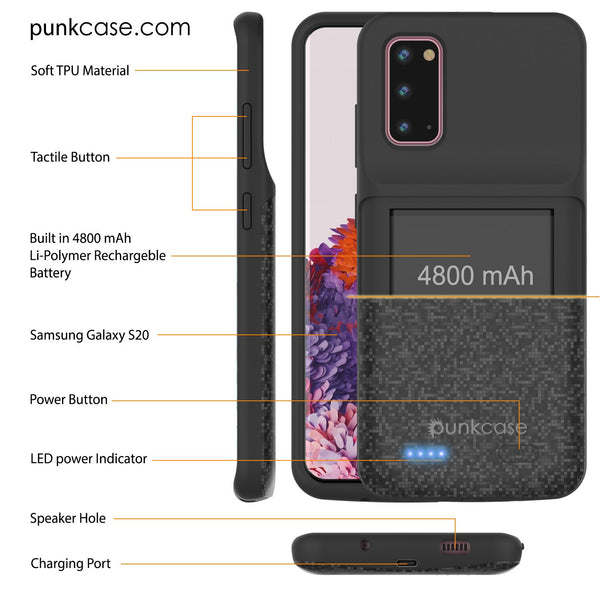 PunkJuice S20 Battery Case Patterned Black - Fast Charging Power Juice Bank with 4800mAh
