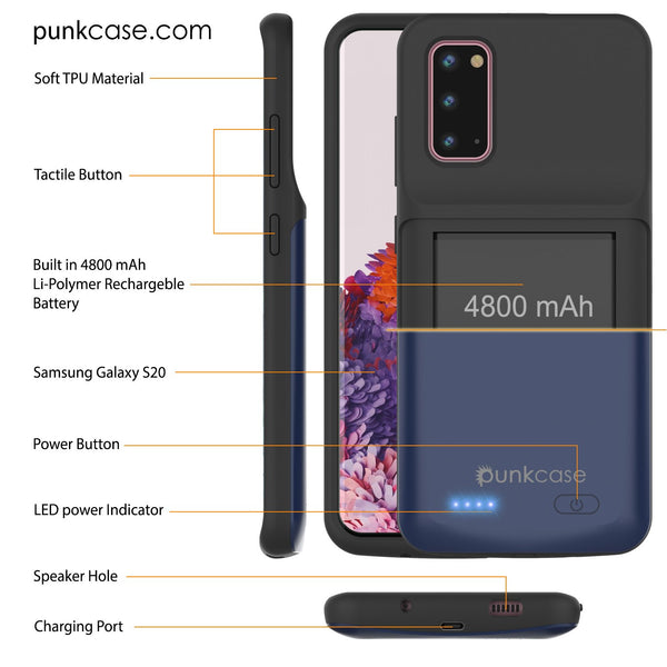 PunkJuice S20 Battery Case All Blue - Fast Charging Power Juice Bank with 4800mAh