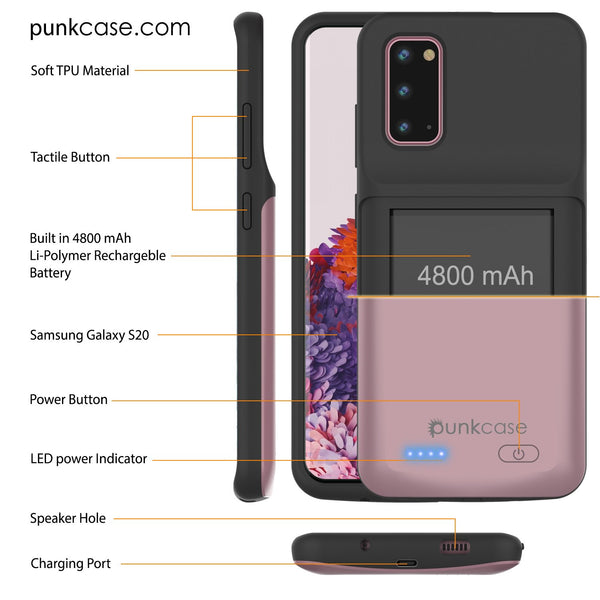 PunkJuice S20 Battery Case Rose - Fast Charging Power Juice Bank with 4800mAh