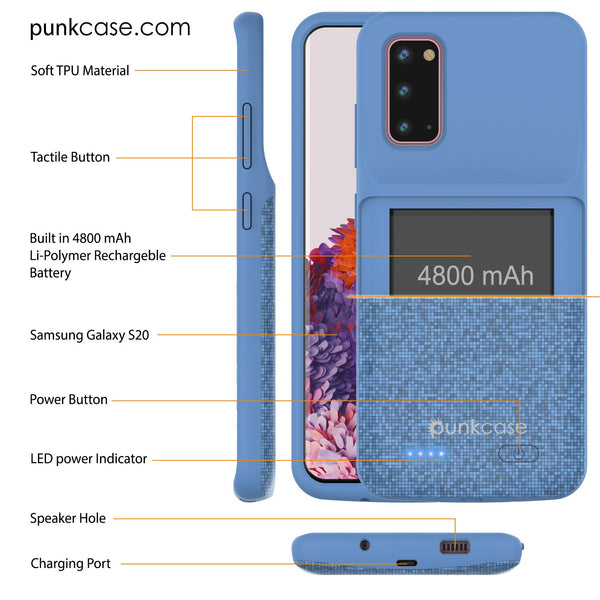 PunkJuice S20 Battery Case Patterned Blue - Fast Charging Power Juice Bank with 4800mAh