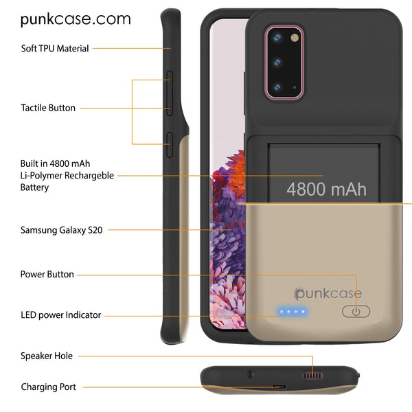 PunkJuice S20 Battery Case Gold - Fast Charging Power Juice Bank with 4800mAh