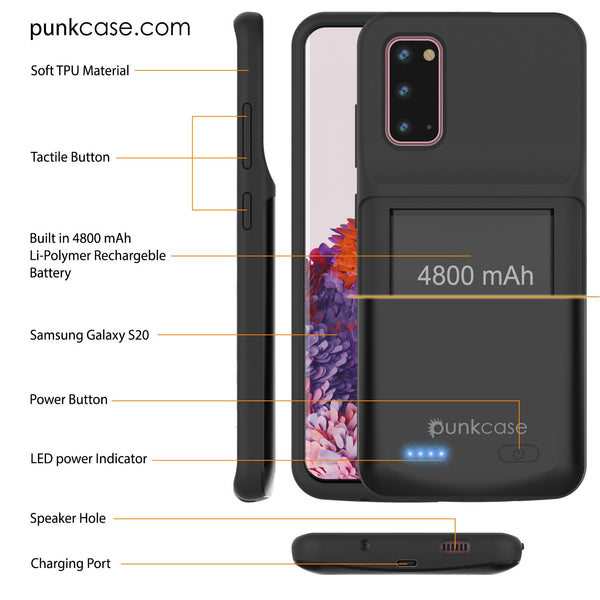 PunkJuice S20 Battery Case All Black - Fast Charging Power Juice Bank with 4800mAh