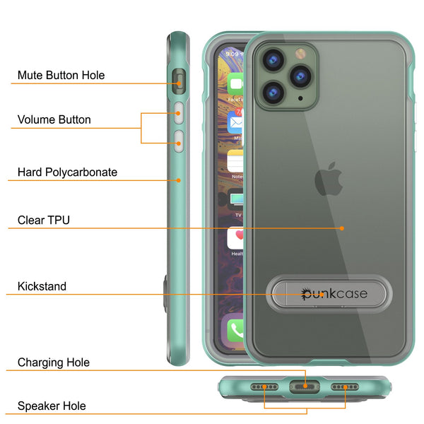 iPhone 11 Pro Max Case, PUNKcase [LUCID 3.0 Series] [Slim Fit] Armor Cover w/ Integrated Screen Protector [Teal]