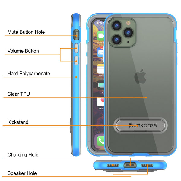 iPhone 11 Pro Max Case, PUNKcase [LUCID 3.0 Series] [Slim Fit] Armor Cover w/ Integrated Screen Protector [Blue]