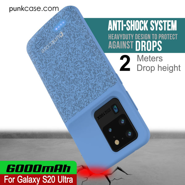 PunkJuice S20 Ultra Battery Case Patterned Blue - Fast Charging Power Juice Bank with 6000mAh