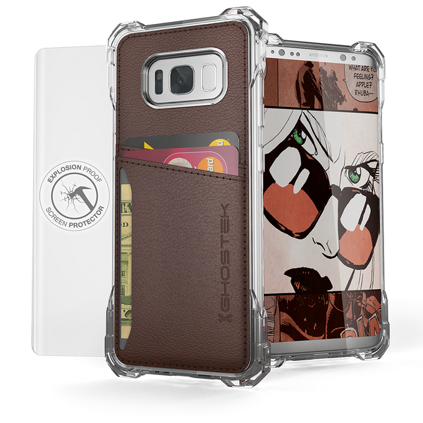 Galaxy S8 Wallet Case, Ghostek Exec Brown Series | Slim Armor Hybrid Impact Bumper | TPU PU Leather Credit Card Slot Holder Sleeve Cover