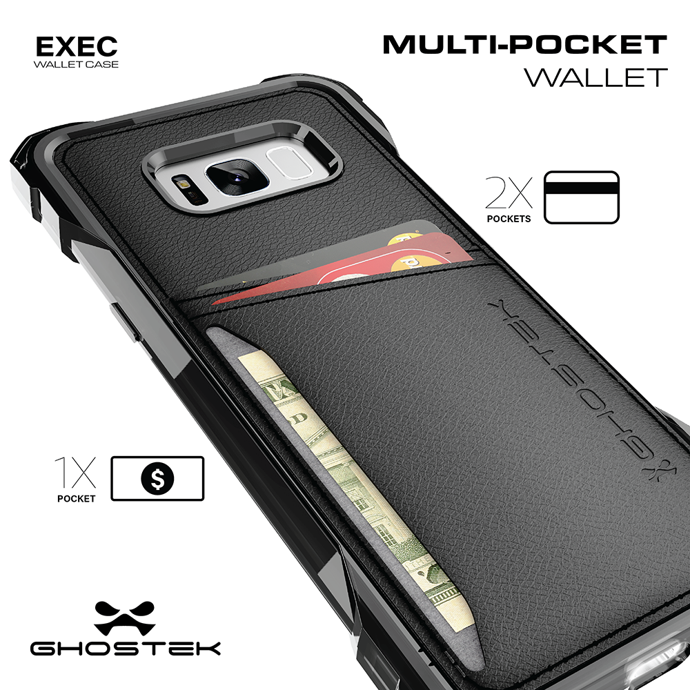 Galaxy S8 Wallet Case, Ghostek Exec Black Series | Slim Armor Hybrid Impact Bumper | TPU PU Leather Credit Card Slot Holder Sleeve Cover