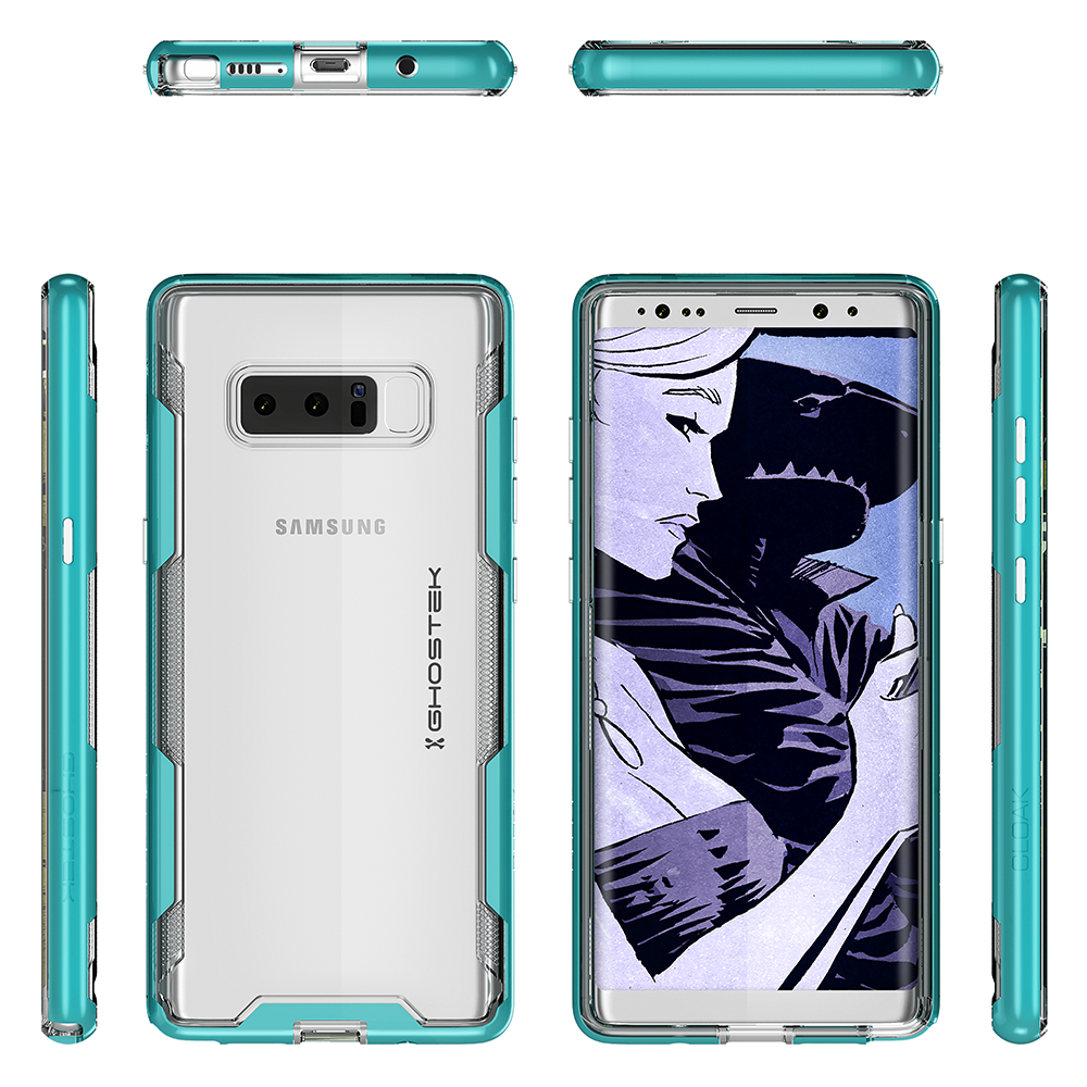 Galaxy Note 8 Case, Ghostek Cloak 3 Galaxy Note 8 Clear Transparent Bumper Case Note8 2017 | TEAL