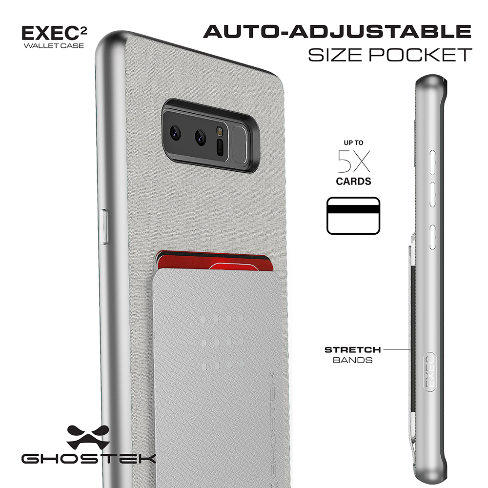 Galaxy Note 8 Case , Ghostek Exec 2 Galaxy Note 8 Case Slim Dual Layer Wallet Design Card Slot Holder [SILVER]