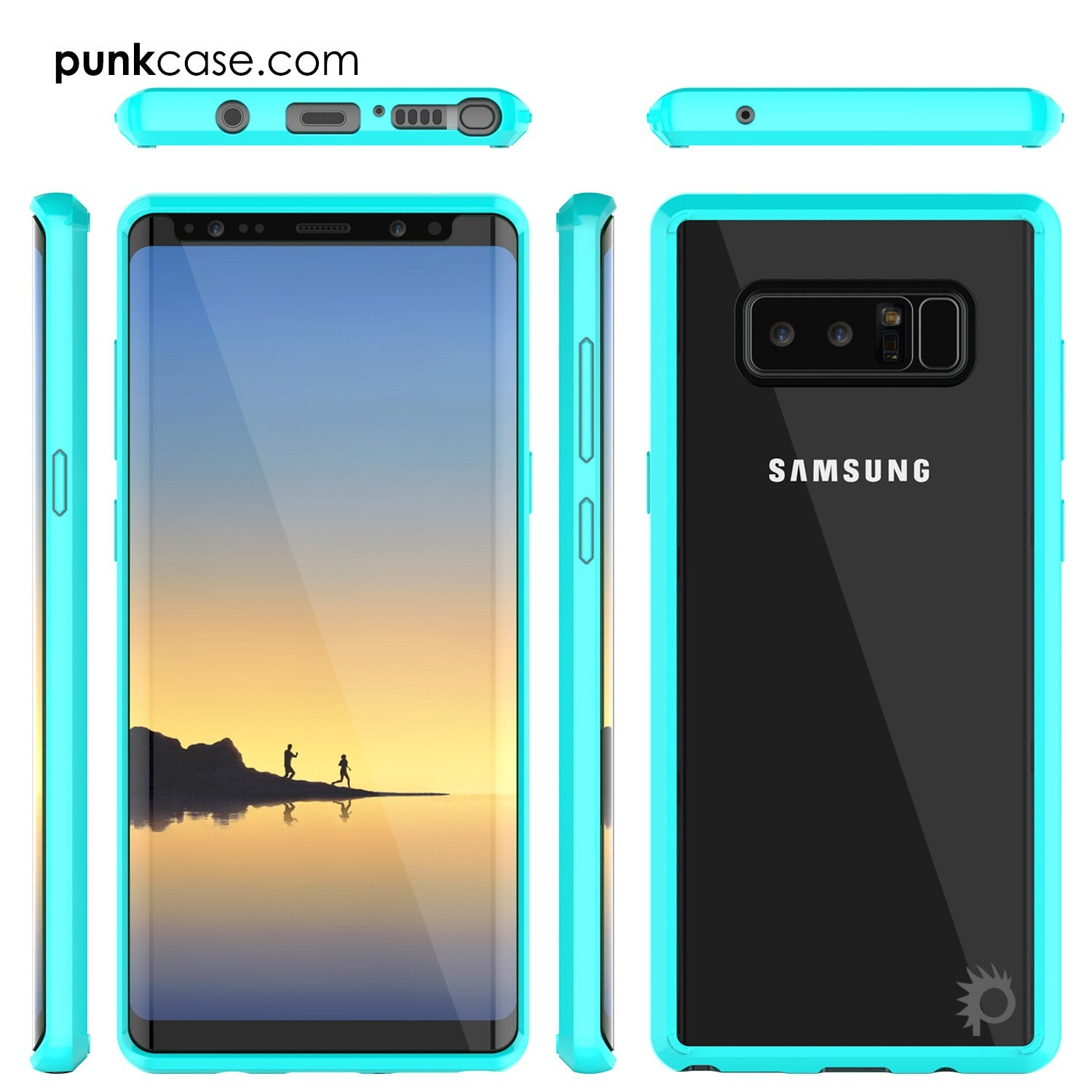 Galaxy Note 8 Case, PUNKcase [LUCID 2.0 Series] [Slim Fit] Armor Cover w/Integrated Anti-Shock System & PUNKSHIELD Screen Protector [Teal]