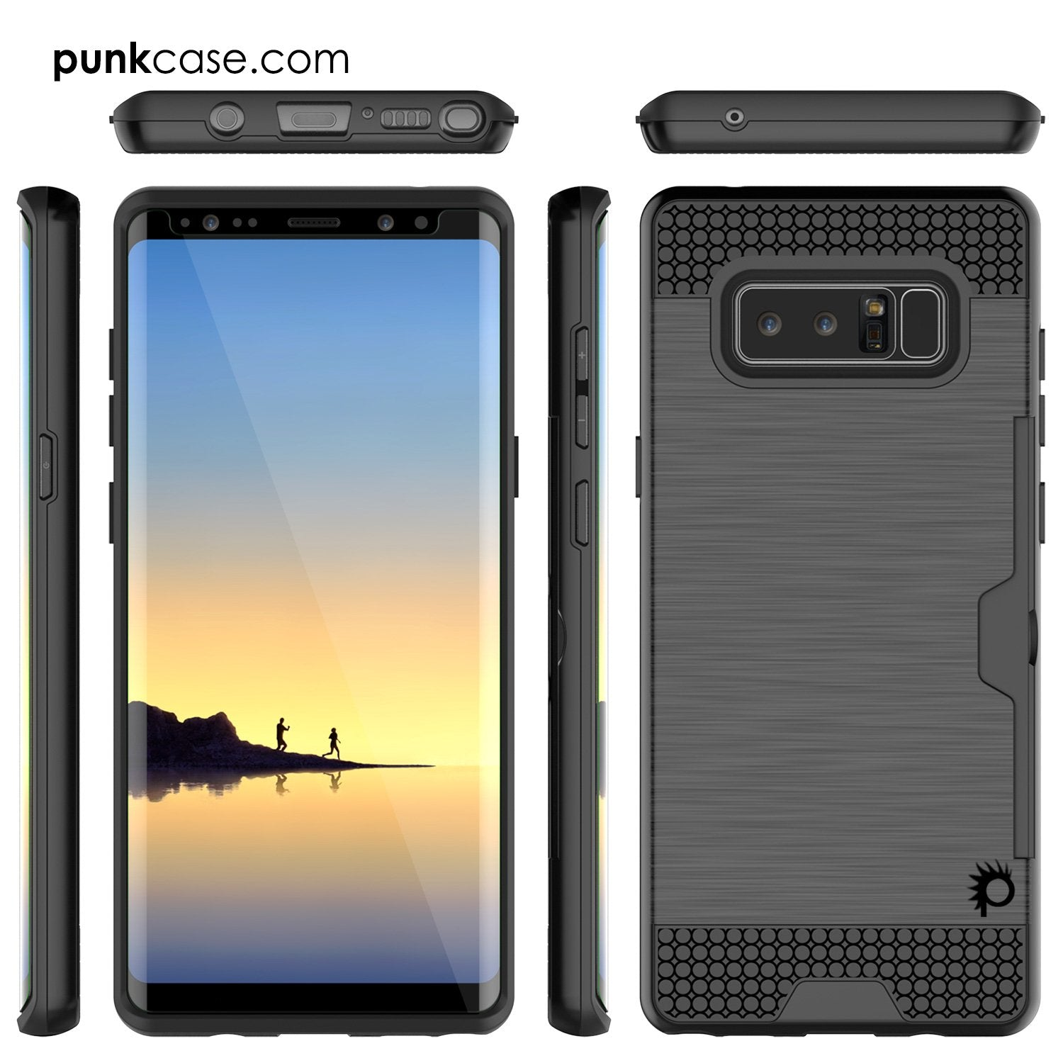 Galaxy Note 8 Case, PUNKcase [SLOT Series] Slim Fit for Samsung Note 8 [Black]