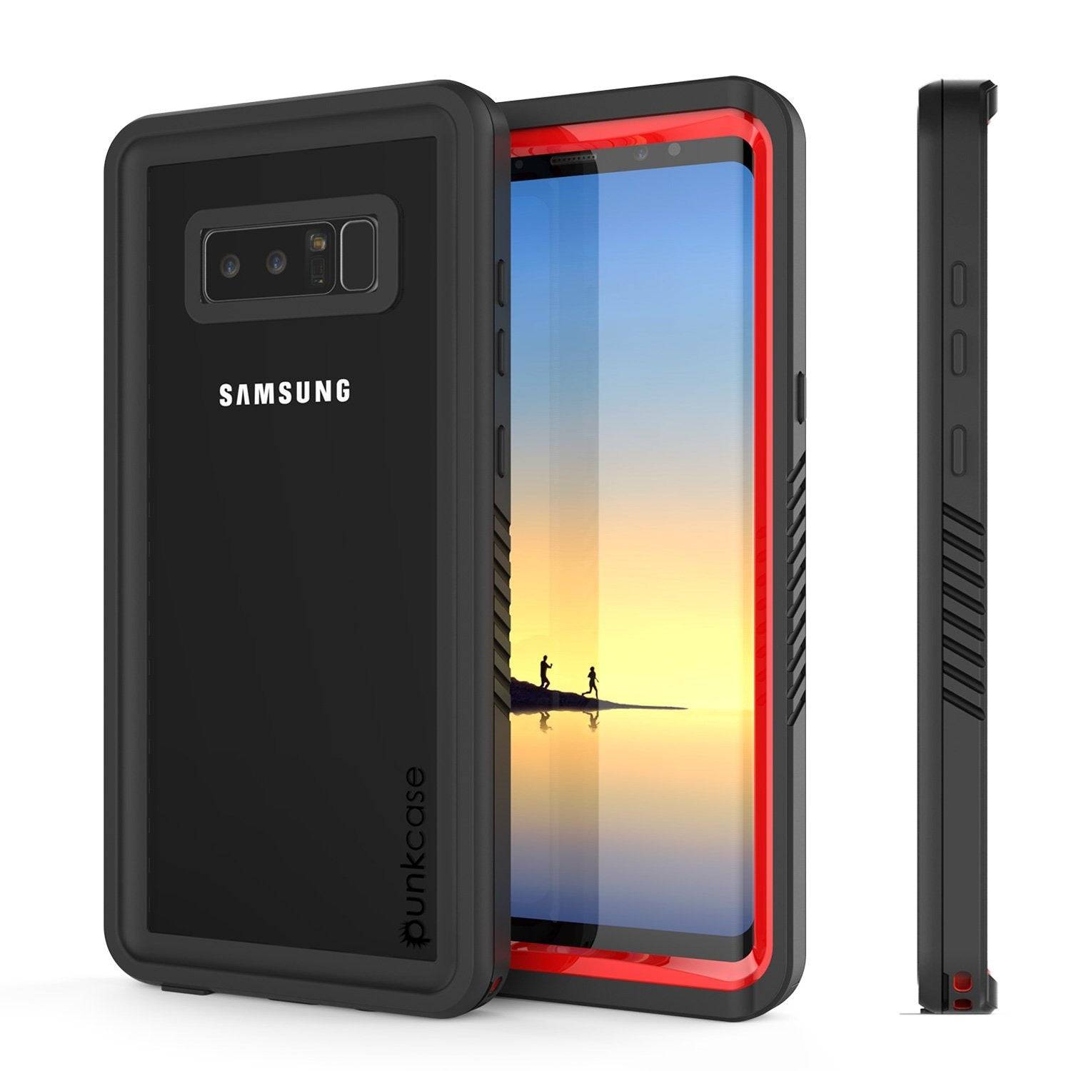 Galaxy Note 8 Case, Punkcase [Extreme Series] [Slim Fit] [IP68 Certified] [Shockproof] Armor Cover W/ Built In Screen Protector [Red]