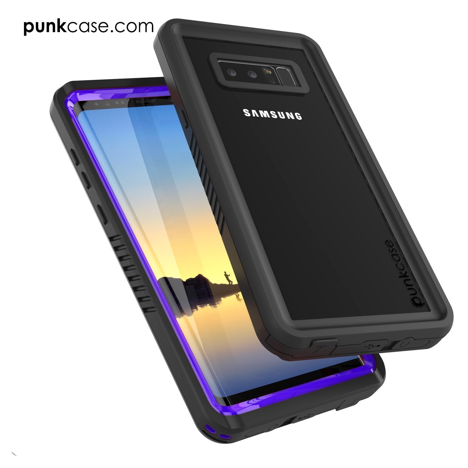 Galaxy Note 8 Case, Punkcase [Extreme Series] [Slim Fit] [IP68 Certified] [Shockproof] Armor Cover W/ Built In Screen Protector [Purple]