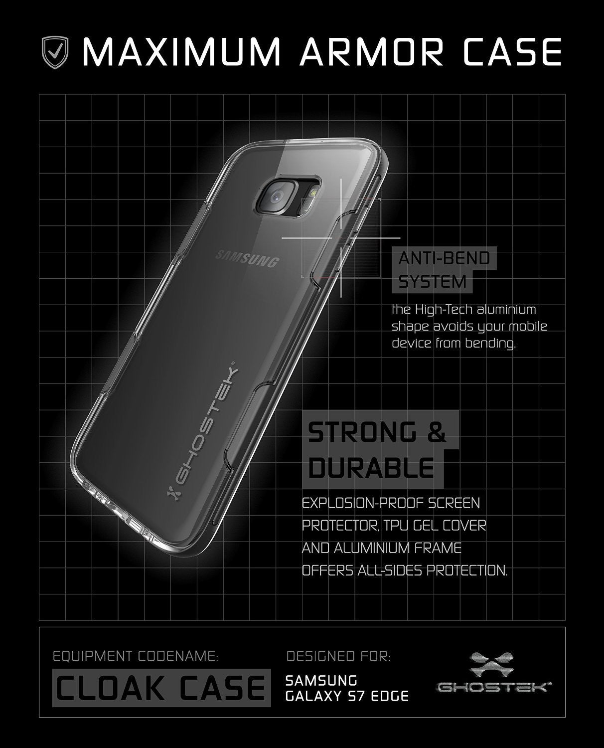 GHOSTEK - Cloak 2.0 Series Armor Case for Samsung S7 Edge | Black