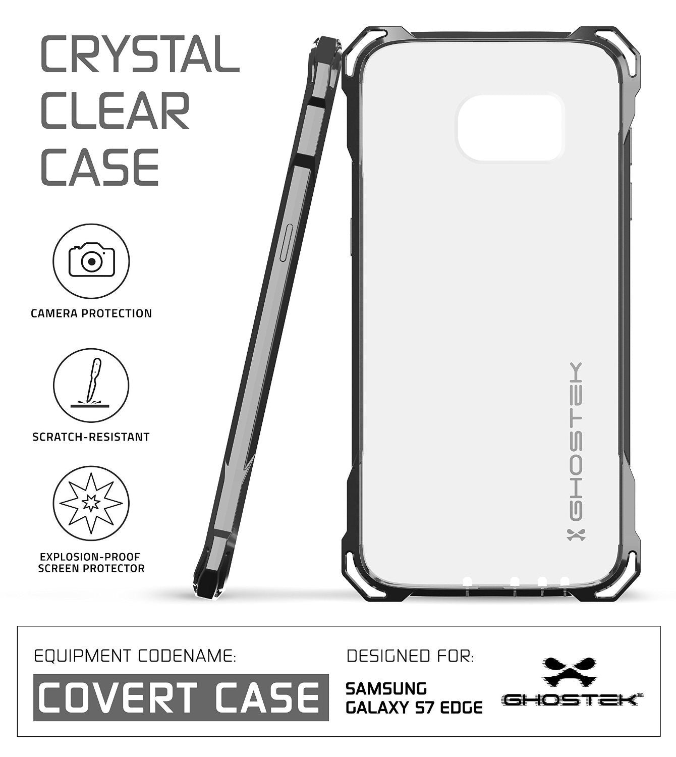 GHOSTEK - Covert Series Premium Impact Case for Samsung S7 Edge | Space Grey