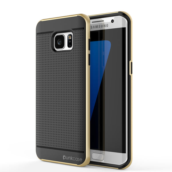 Galaxy S7 Edge Case, Punkcase Stealth Gold Series Hybrid 3-Piece Shockproof Dual Layer Cover