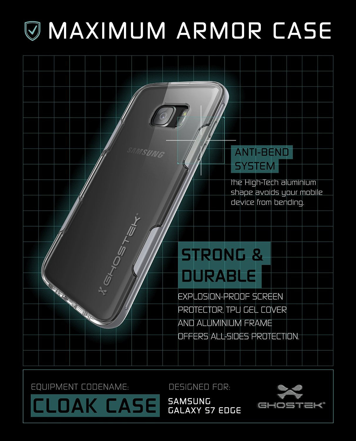 GHOSTEK - Cloak 2.0 Series Armor Case for Samsung S7 Edge | Silver