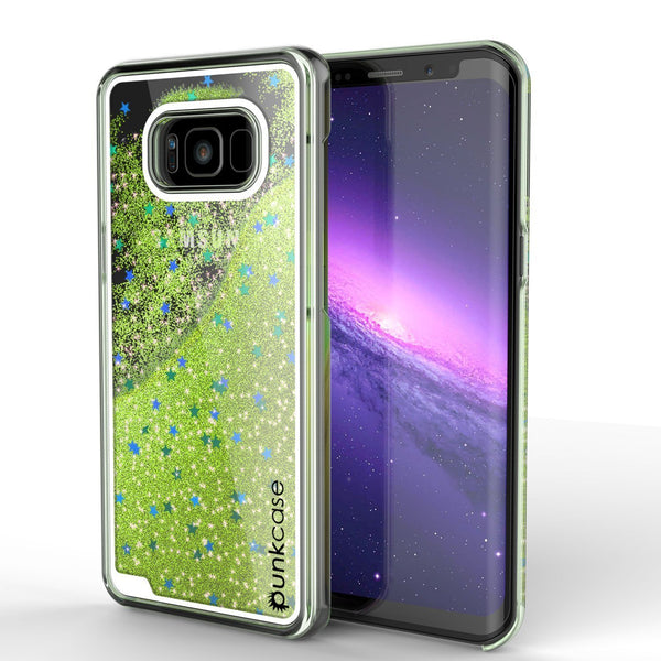 Galaxy S8 Case, Punkcase Liquid Light Green Series Protective Dual Layer Floating Glitter Cover