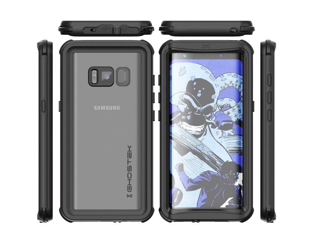 Galaxy S8 Plus Waterproof Case, Ghostek Nautical Series (Black) | Slim Underwater Full Body Protection