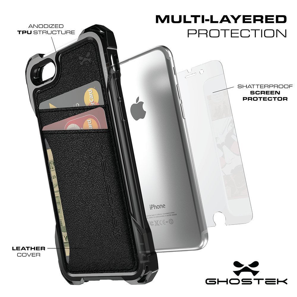 iPhone 7 Wallet Case, Ghostek Exec Black Series | Slim Armor Hybrid Impact Bumper | TPU PU Leather Credit Card Slot Holder Sleeve Cover