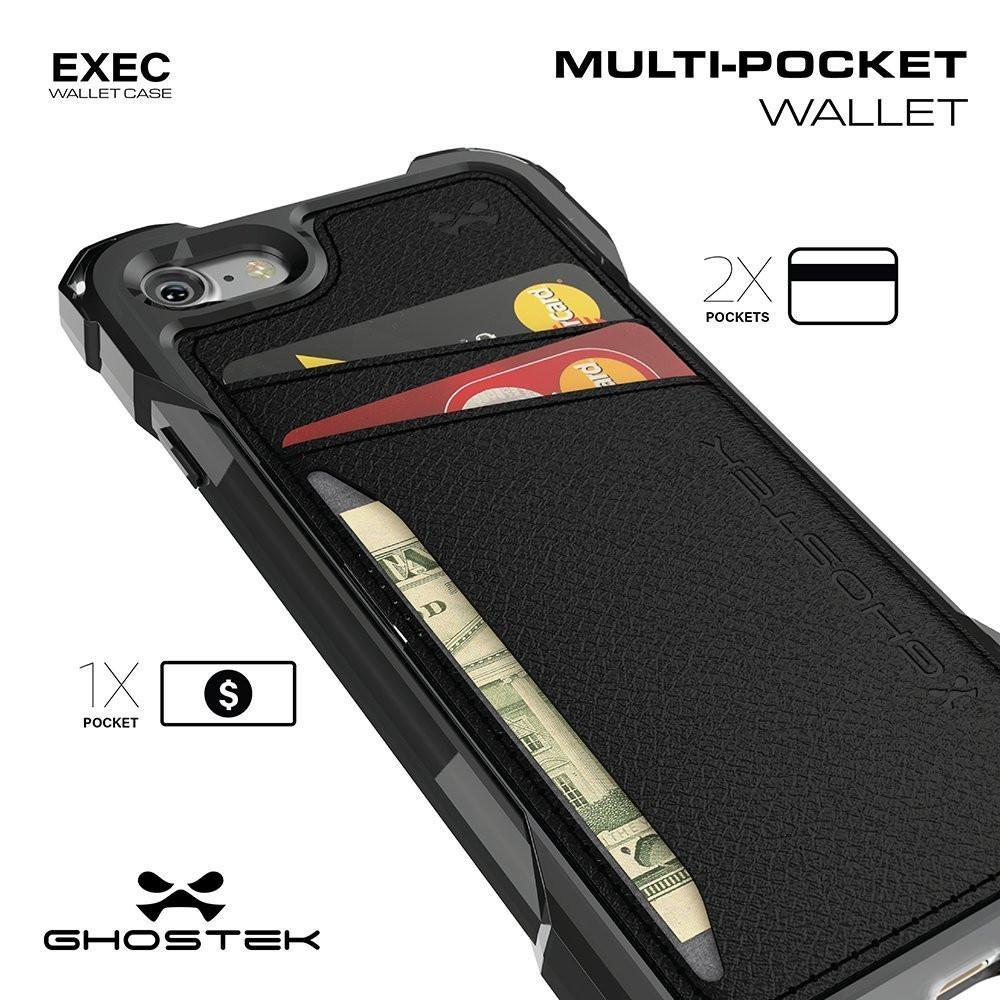 iPhone 8 Wallet Case, Ghostek Exec Black Series | Slim Armor Hybrid Impact Bumper | TPU PU Leather Credit Card Slot Holder Sleeve Cover