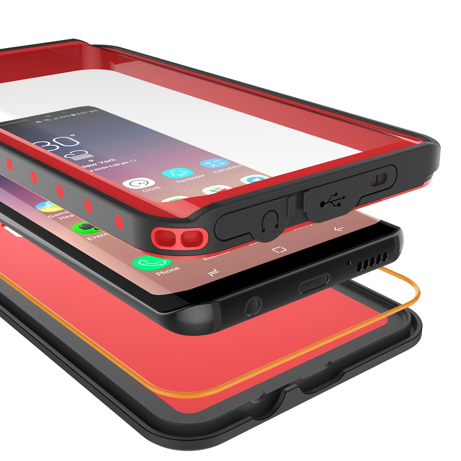 Galaxy S9 Plus Waterproof Case PunkCase StudStar Red Thin 6.6ft Underwater IP68 Shock/Snow Proof