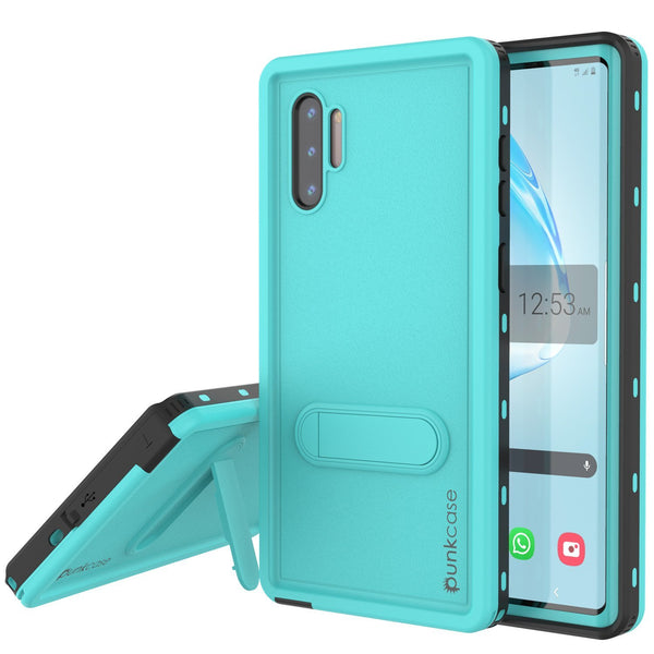 PunkCase Galaxy Note 10 Waterproof Case, [KickStud Series] Armor Cover [Teal]
