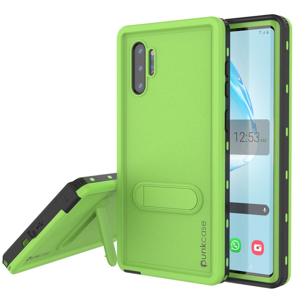 PunkCase Galaxy Note 10+ Plus Waterproof Case, [KickStud Series] Armor Cover [Light-Green]