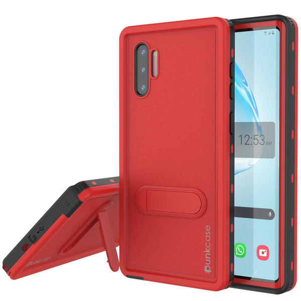 PunkCase Galaxy Note 10 Waterproof Case, [KickStud Series] Armor Cover [Red]