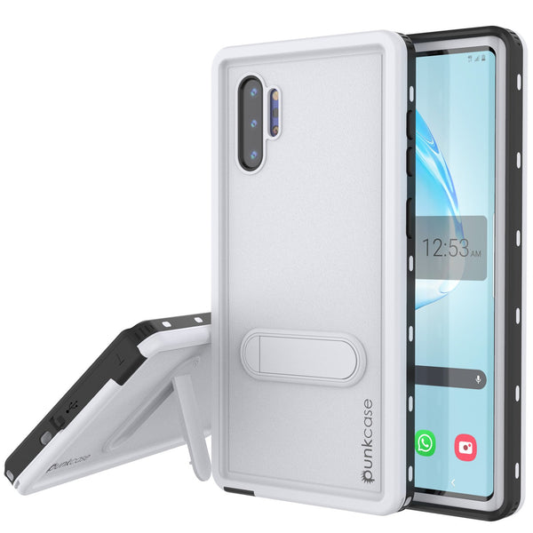 PunkCase Galaxy Note 10+ Plus Waterproof Case, [KickStud Series] Armor Cover [White]