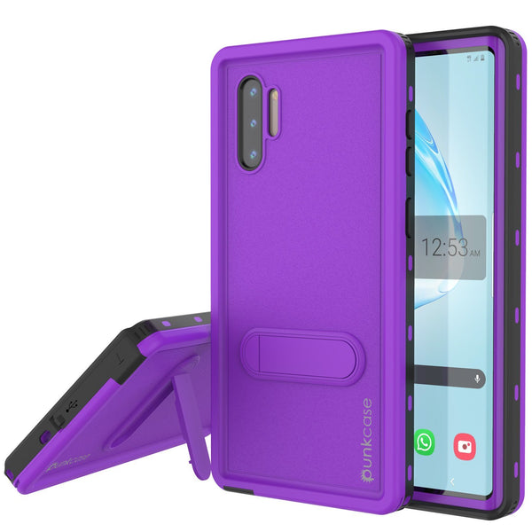 PunkCase Galaxy Note 10 Waterproof Case, [KickStud Series] Armor Cover [Purple]