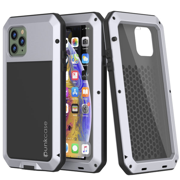 iPhone 11 Pro Max Metal Case, Heavy Duty Military Grade Armor Cover [shock proof] Full Body Hard [White]