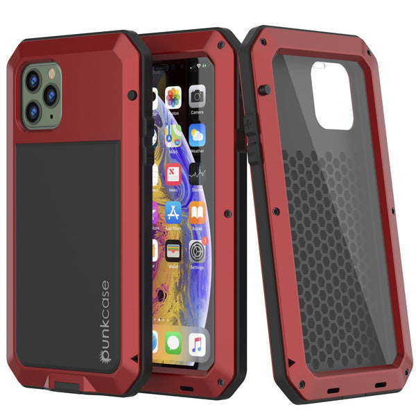 iPhone 11 Pro Max Metal Case, Heavy Duty Military Grade Armor Cover [shock proof] Full Body Hard [Red]