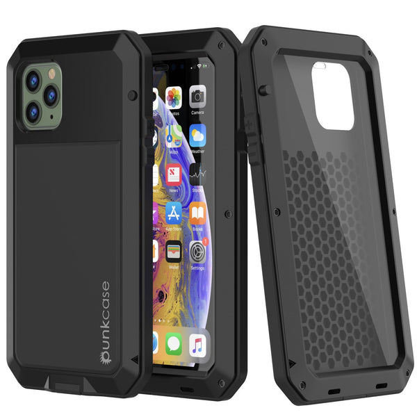 iPhone 11 Pro Max Metal Case, Heavy Duty Military Grade Armor Cover [shock proof] Full Body Hard [Black]