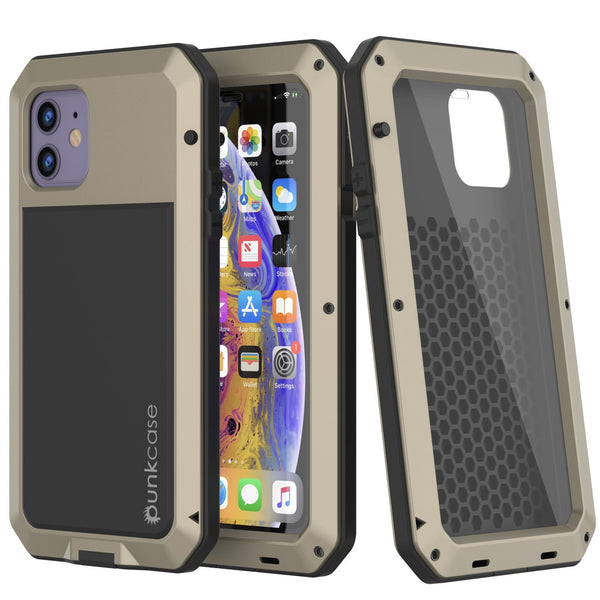 iPhone 11 Metal Case, Heavy Duty Military Grade Armor Cover [shock proof] Full Body Hard [Gold]