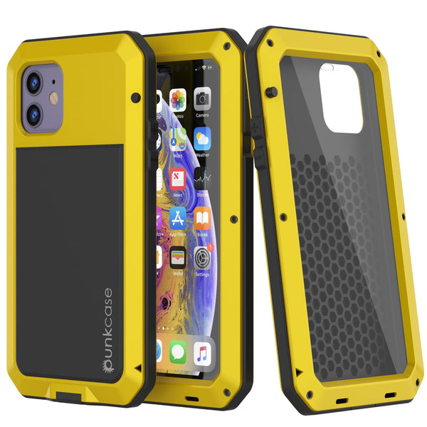 iPhone 11 Metal Case, Heavy Duty Military Grade Armor Cover [shock proof] Full Body Hard [Neon]