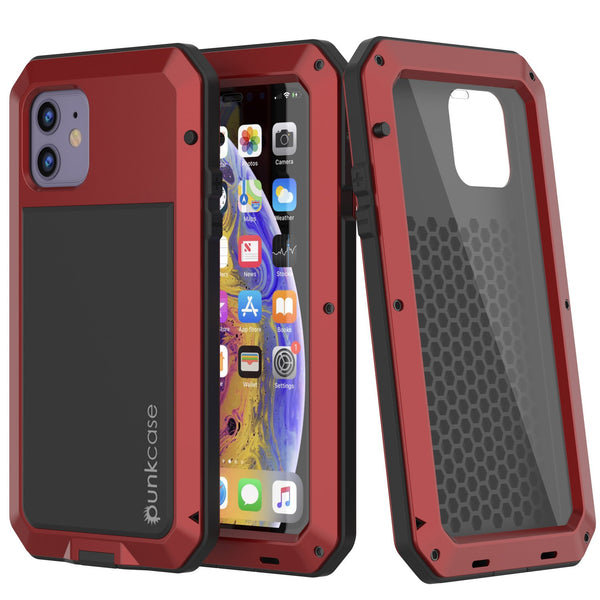 iPhone 11 Metal Case, Heavy Duty Military Grade Armor Cover [shock proof] Full Body Hard [Red]