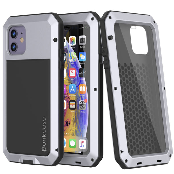 iPhone 11 Metal Case, Heavy Duty Military Grade Armor Cover [shock proof] Full Body Hard [White]