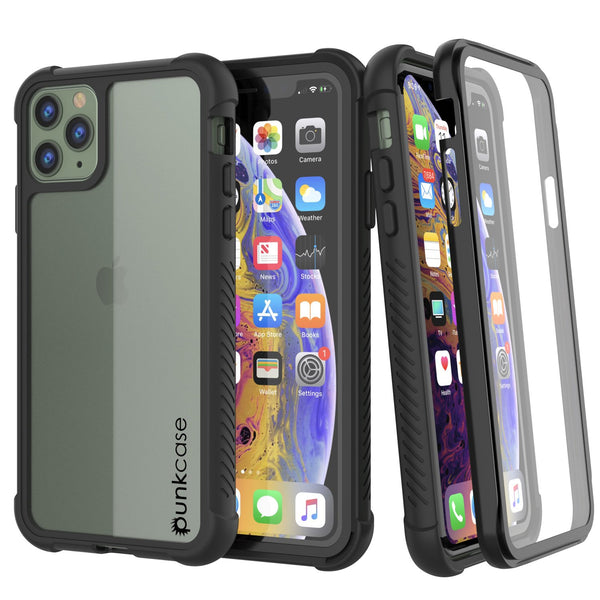 PunkCase iPhone 11 Pro Case, [Spartan Series] Clear Rugged Heavy Duty Cover W/Built in Screen Protector [Black]