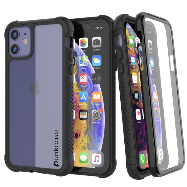 PunkCase iPhone 11 Case, [Spartan Series] Clear Rugged Heavy Duty Cover W/Built in Screen Protector [Black]