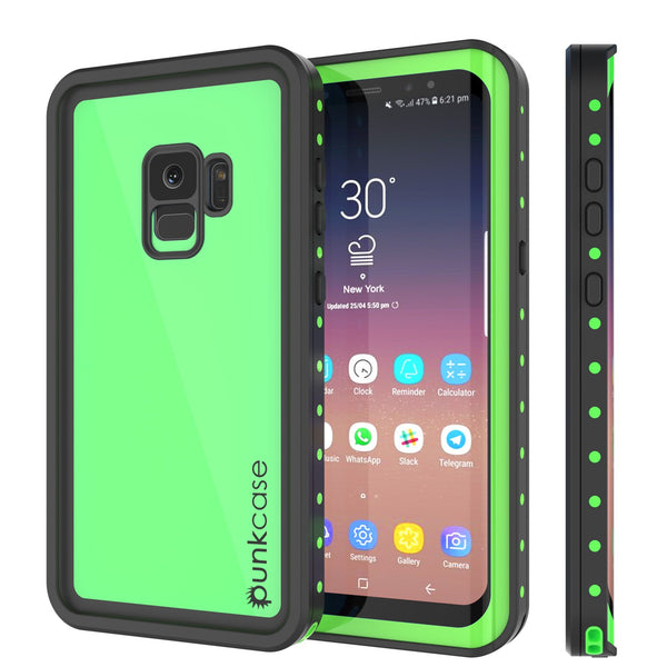 Galaxy S9 Waterproof Case PunkCase StudStar Light Green Thin 6.6ft Underwater IP68 ShockProof